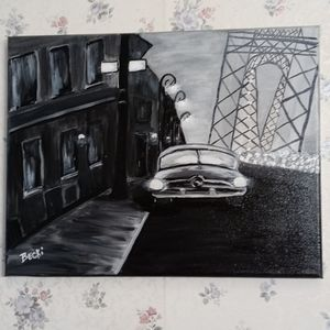 11 x 14 black and white acrylic painting